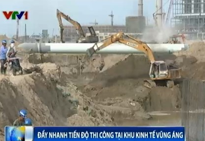 phóng sự ngắn về tình hình thi công xây dựng hệ thống xử lý nước thải công nghiệp tại Hà Tĩnh